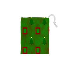 Christmas Trees And Boxes Background Drawstring Pouches (XS)