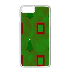 Christmas Trees And Boxes Background Apple Iphone 7 Plus White Seamless Case