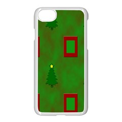 Christmas Trees And Boxes Background Apple Iphone 7 Seamless Case (white)