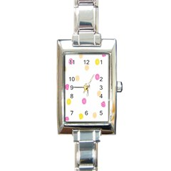 Diamond Pink Yellow Rectangle Italian Charm Watch
