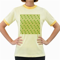 Christmas Wrapping Paper Pattern Women s Fitted Ringer T-Shirts