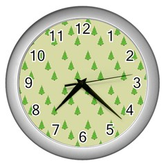 Christmas Wrapping Paper Pattern Wall Clocks (Silver)