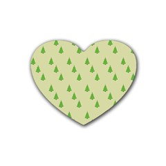 Christmas Wrapping Paper Pattern Rubber Coaster (Heart)