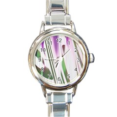 Colored Pattern Round Italian Charm Watch