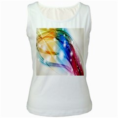 Colour Abstract Women s White Tank Top