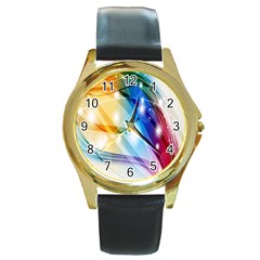 Colour Abstract Round Gold Metal Watch