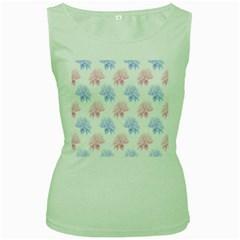 Flower Blue Pink Women s Green Tank Top