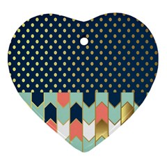 Preppy Personalized Yubo Lunch Box Gold Blue Pink Grey Ornament (heart)