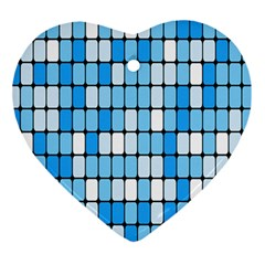 Ronded Square Plaid Blue Ornament (heart)