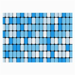 Ronded Square Plaid Blue Large Glasses Cloth (2 Side)