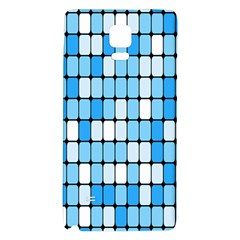 Ronded Square Plaid Blue Galaxy Note 4 Back Case