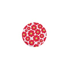 Seamless Floral Flower Red Fan Red Rose 1  Mini Magnets