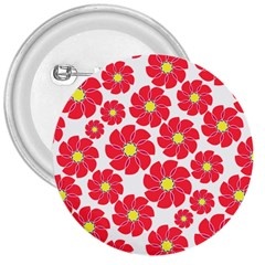 Seamless Floral Flower Red Fan Red Rose 3  Buttons