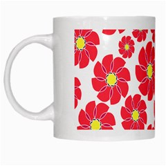 Seamless Floral Flower Red Fan Red Rose White Mugs
