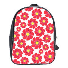 Seamless Floral Flower Red Fan Red Rose School Bags(large)