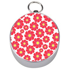 Seamless Floral Flower Red Fan Red Rose Silver Compasses