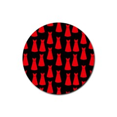 Dresses Seamless Pattern Rubber Round Coaster (4 pack)