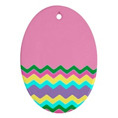 Easter Chevron Pattern Stripes Ornament (oval)