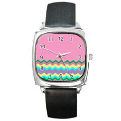 Easter Chevron Pattern Stripes Square Metal Watch