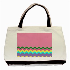 Easter Chevron Pattern Stripes Basic Tote Bag