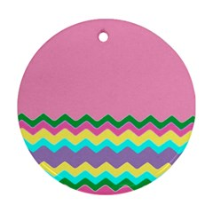 Easter Chevron Pattern Stripes Round Ornament (Two Sides)