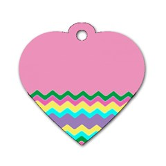Easter Chevron Pattern Stripes Dog Tag Heart (Two Sides)