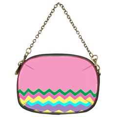 Easter Chevron Pattern Stripes Chain Purses (Two Sides)