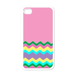 Easter Chevron Pattern Stripes Apple iPhone 4 Case (White)