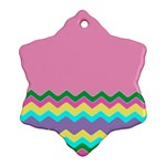 Easter Chevron Pattern Stripes Ornament (Snowflake) Front