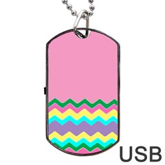 Easter Chevron Pattern Stripes Dog Tag USB Flash (One Side)