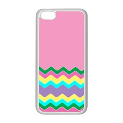 Easter Chevron Pattern Stripes Apple iPhone 5C Seamless Case (White)