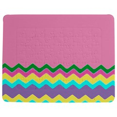 Easter Chevron Pattern Stripes Jigsaw Puzzle Photo Stand (Rectangular)
