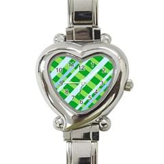 Fabric Cotton Geometric Diagonal Heart Italian Charm Watch
