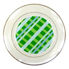 Fabric Cotton Geometric Diagonal Porcelain Plates