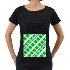 Fabric Cotton Geometric Diagonal Women s Loose-Fit T-Shirt (Black)