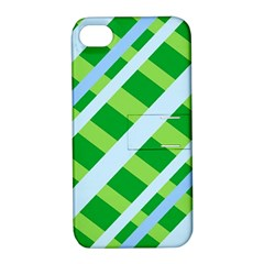 Fabric Cotton Geometric Diagonal Apple iPhone 4/4S Hardshell Case with Stand