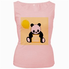 First Birthday Panda Card Women s Pink Tank Top