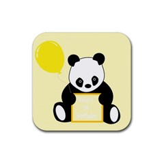 First Birthday Panda Card Rubber Square Coaster (4 pack)