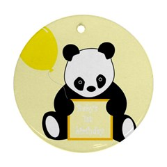 First Birthday Panda Card Round Ornament (Two Sides)