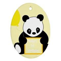 First Birthday Panda Card Oval Ornament (Two Sides)