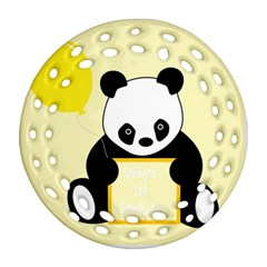 First Birthday Panda Card Ornament (Round Filigree)