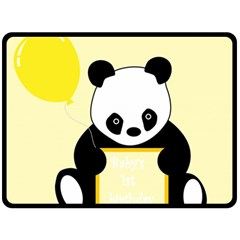 First Birthday Panda Card Double Sided Fleece Blanket (Large)