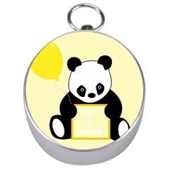 First Birthday Panda Card Silver Compasses