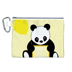 First Birthday Panda Card Canvas Cosmetic Bag (L)