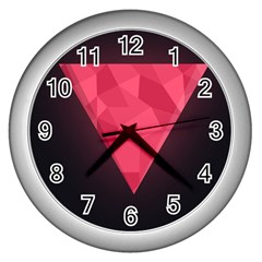 Geometric Triangle Pink Wall Clocks (Silver)