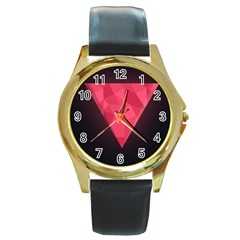 Geometric Triangle Pink Round Gold Metal Watch