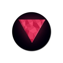 Geometric Triangle Pink Rubber Round Coaster (4 pack)