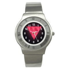 Geometric Triangle Pink Stainless Steel Watch