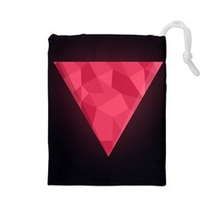 Geometric Triangle Pink Drawstring Pouches (Large)