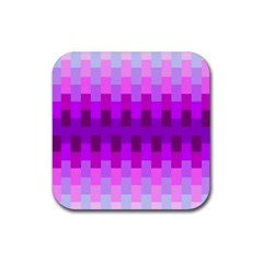 Geometric Cubes Pink Purple Blue Rubber Square Coaster (4 pack)